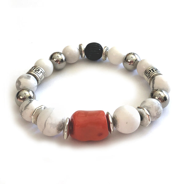 MancessooriesUSA Verano Bracelet features orange coral, white howlite and stainless steel beads.