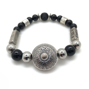 The MancessoriesUSA Warrior Bracelet features Antique Silver Finished components and Black Onyx Semi-precious Stones.