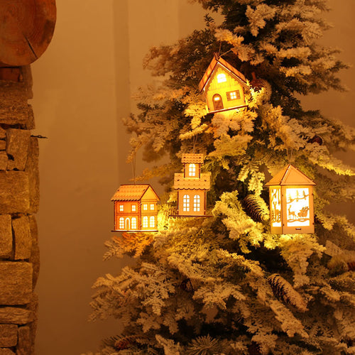 Christmas LED Cabin Hanging,Wooden House Villa Xmas Decorations Ornaments
