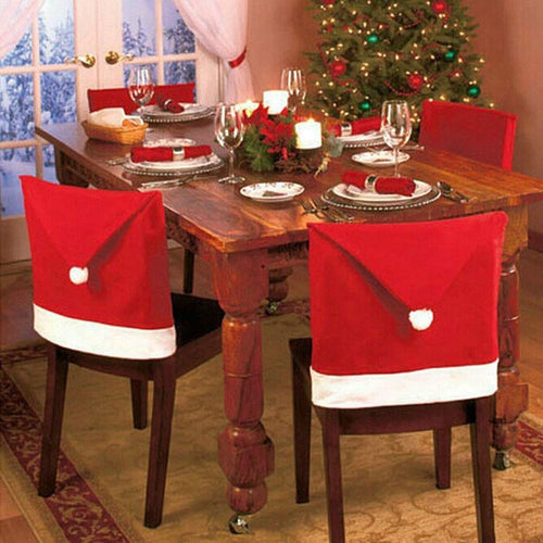 Christmas Santa Hat Chair Back Cover, Christmas Santa Claus Red Chair Hat, Xmas Party Dinner Table Kitchen Dining Decoration Red Chair Covers Sets
