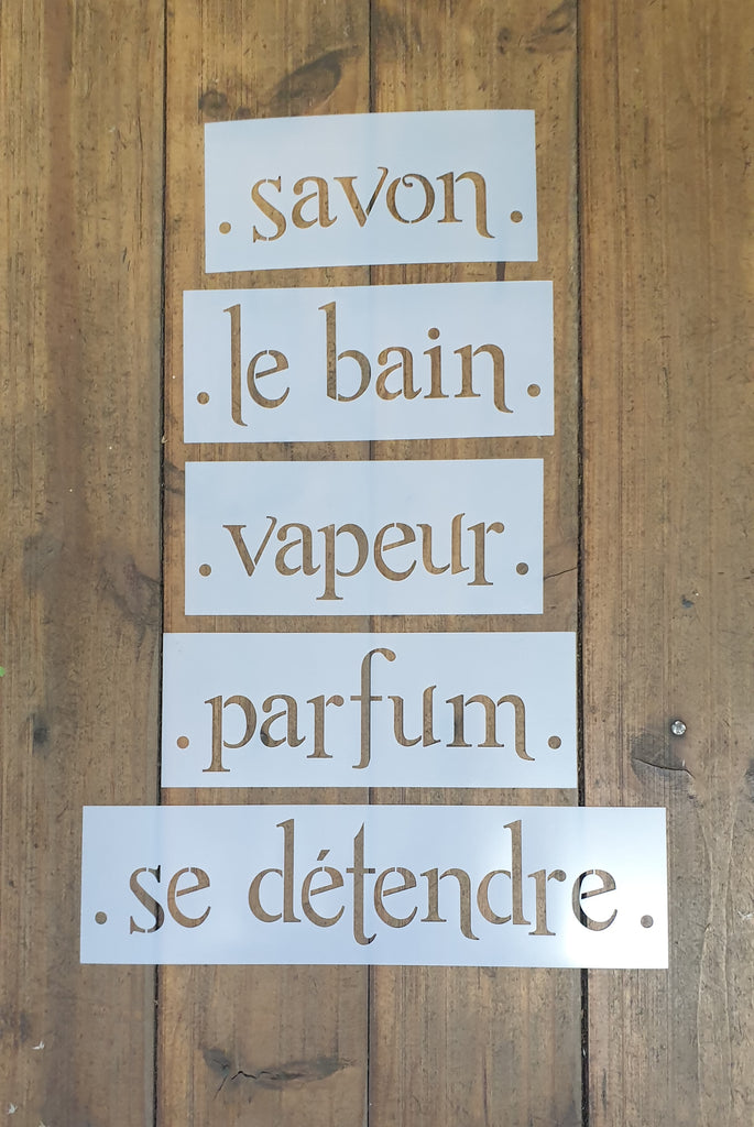 Bathroom listello stencil set of 5 words