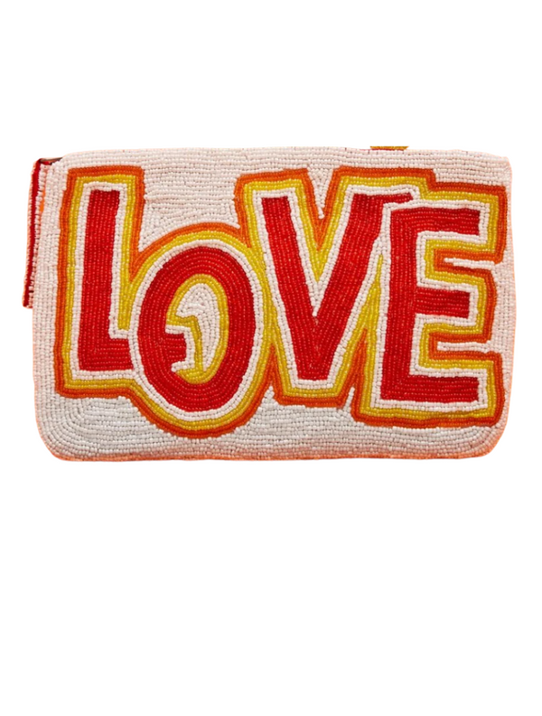 Love Beaded Purse (White / Red)