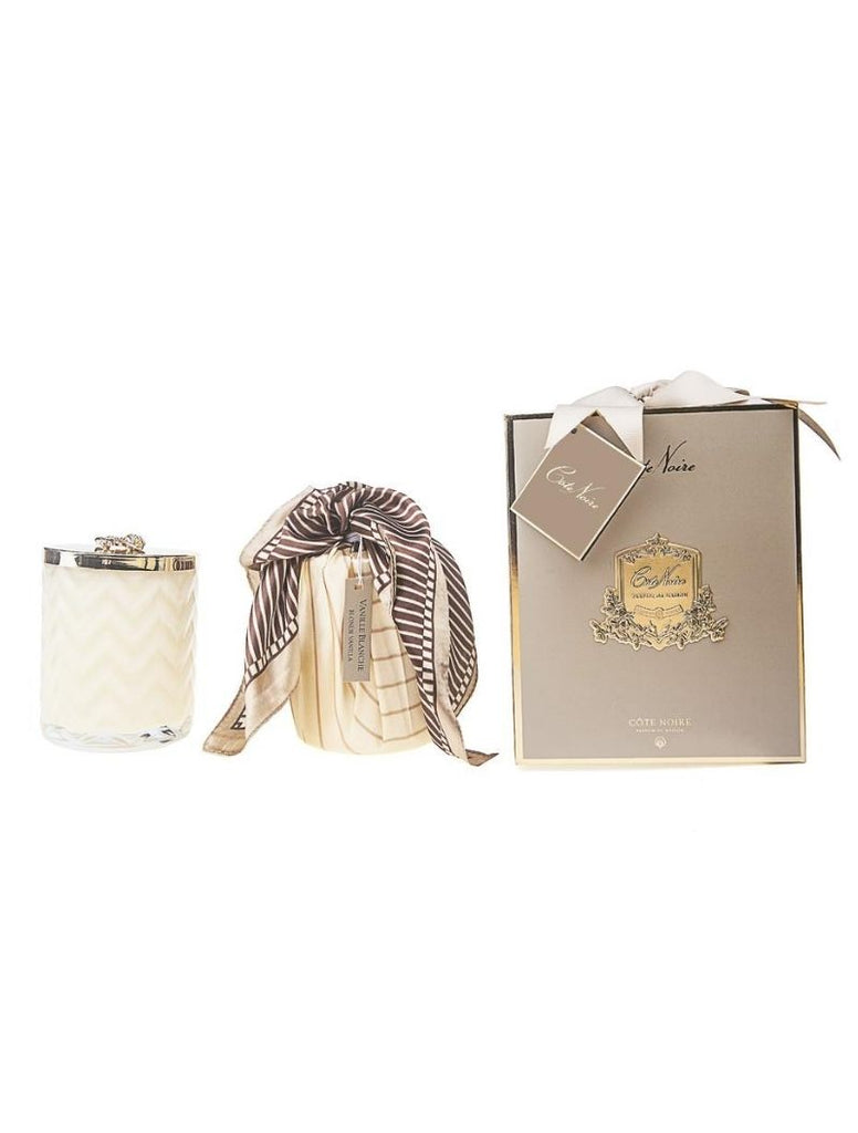 HERRINGBONE CANDLE WITH SCARF BLOND VANILLA - CREAM & GOLDEN BEE LID