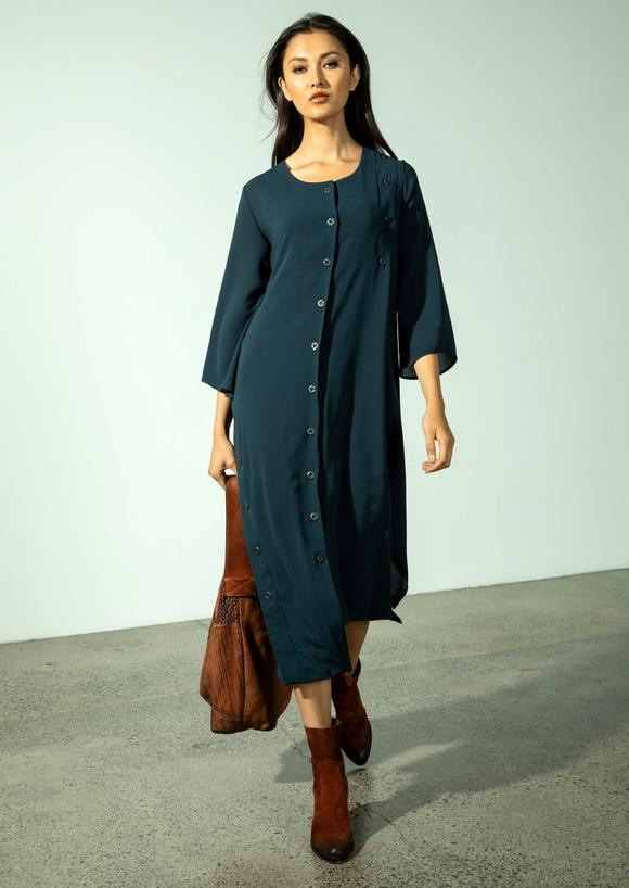 Kazan Coat Dress - Stretch Georgette (Indigo)