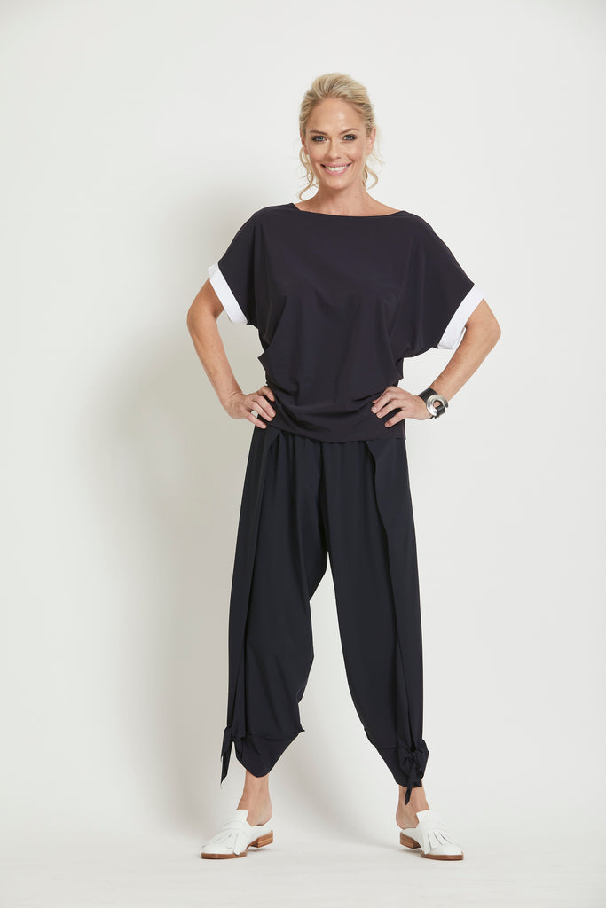 Overlay Side Panel Tie Cuff Pant