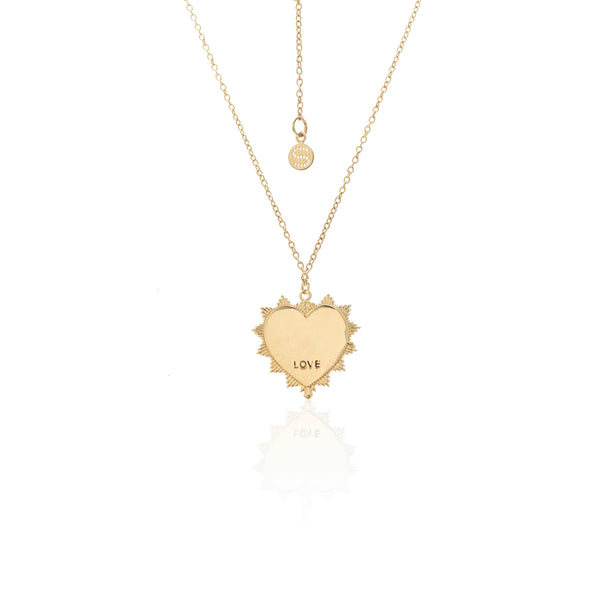 Heart of Love Necklace - Rose Quartz/Gold