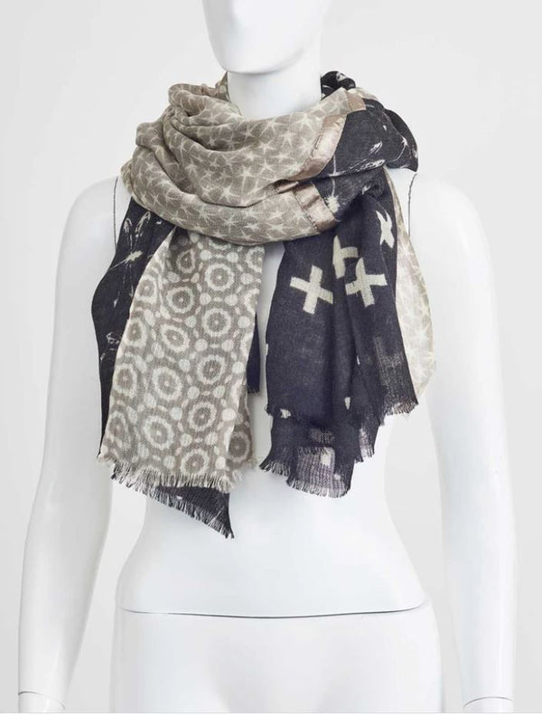 SALLY SCARF - Large - Black / Cream