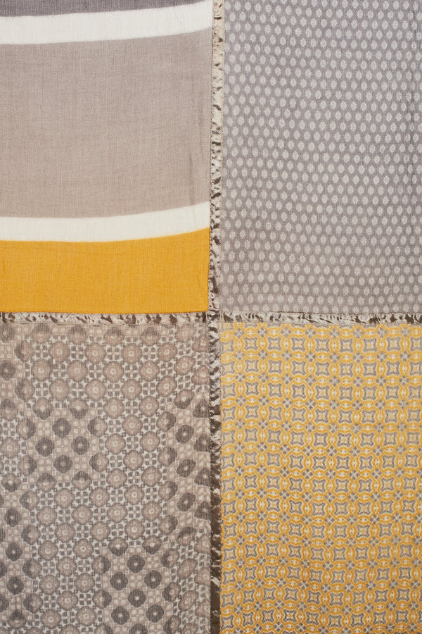 SALLY SCARF - Large - Grey / Mustard