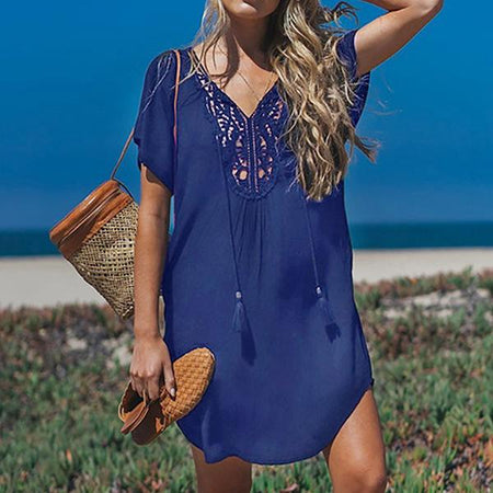 V Neck Summer Solid Color Short Sleeve Dress