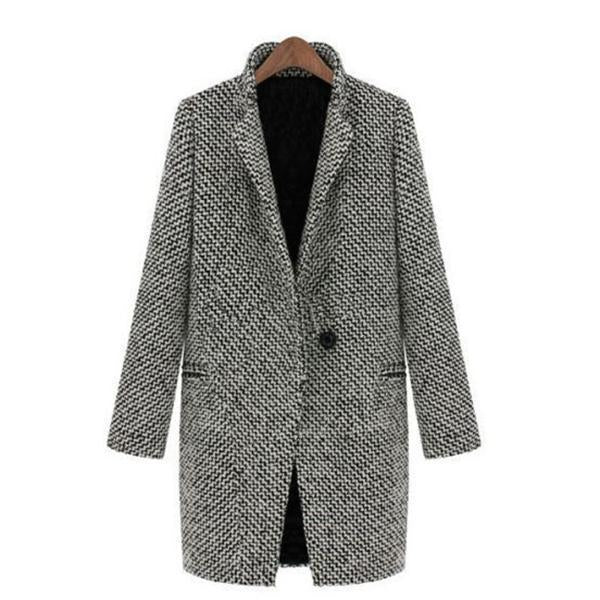 New Style Elegant Houndstooth Slim Thick Coat
