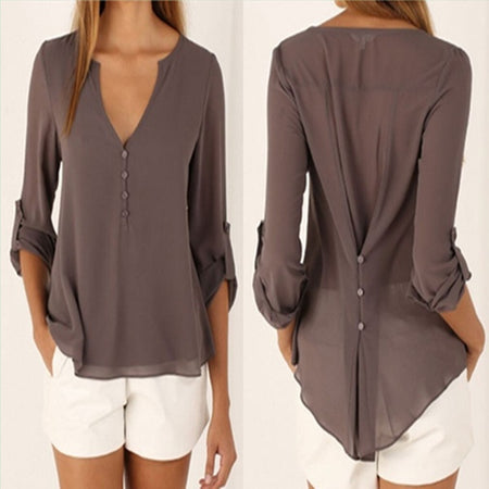 Women V Neck Solid Chiffon Long Sleeve Blouse
