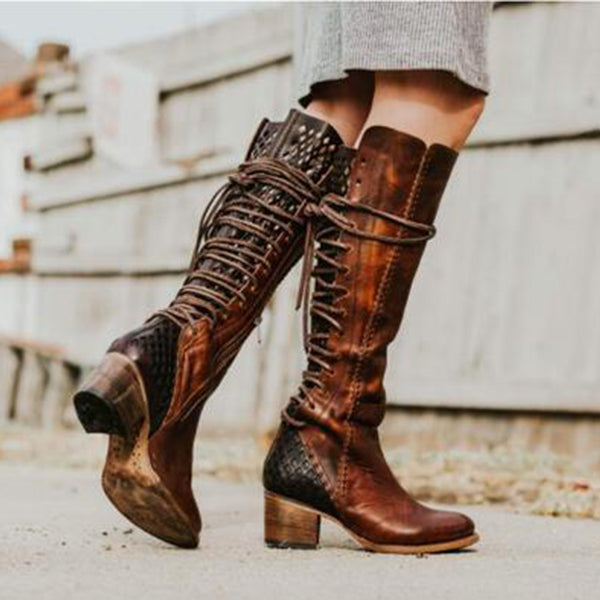 eb584ed4c Vintage Lace-up Hollow-Out Boots Chunky Heel Color Block Boots – judedress