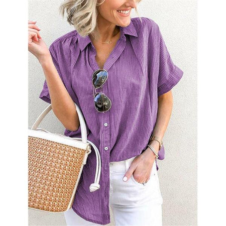 Daily Casual Short Sleeve Button Blouse