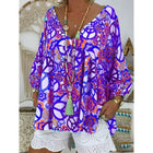 Plus Size V Neck Loose Printed Blouse