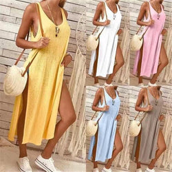 Summer New Solid Color Women's Dress Beach Dress