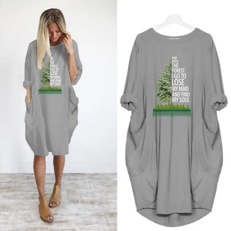 Women Casual Long Sleeve Loose Dress