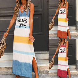 Sleeveless V-neck Casual A-line Print Vest Dress