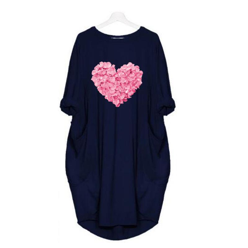 Love Rose Print Loose Casual Women's Autumn Dress