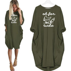 Autumn Women's Plus Size Fox Casual Loose Irregular Dress