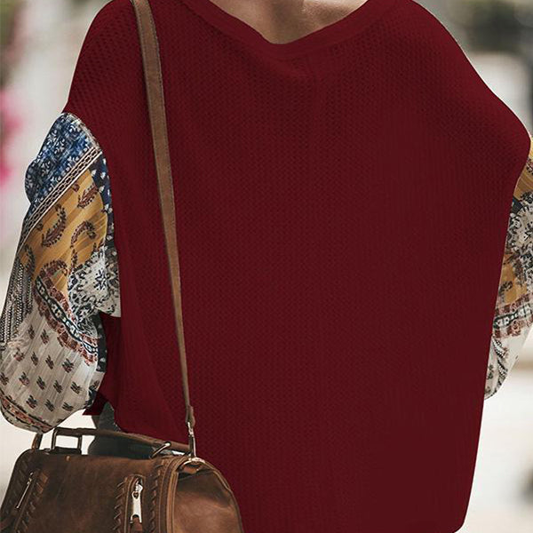 Casual Color Matching Long-Sleeved Knitting Blouses