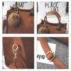 Shoulder Bags Fur Ball Tote Retro Bag Vintage Handbags