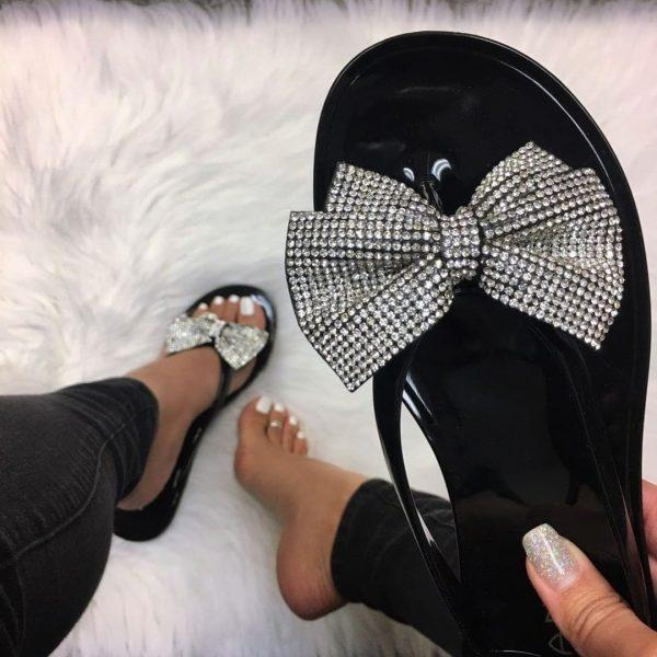 Casual Crystal Ribbon Flat Sandals