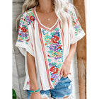 Vintage Short Sleeve Casual V NECK Blouses