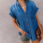 Loose Button Solid Color Blouse