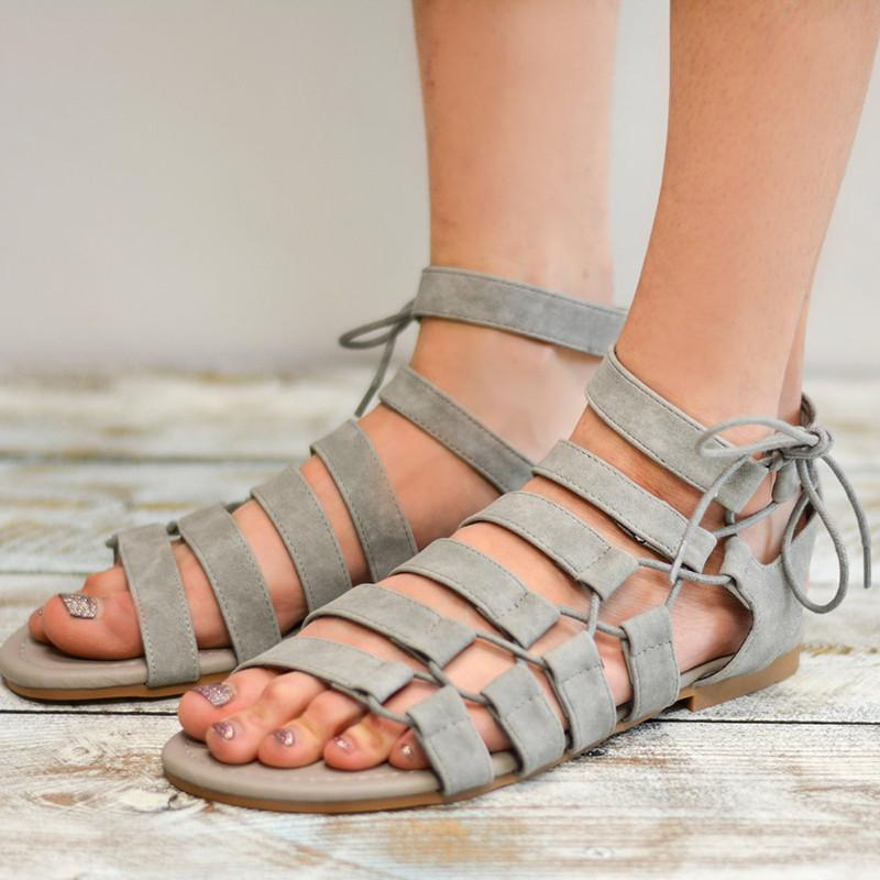 Large Size PU Lace-up Roman Sandals