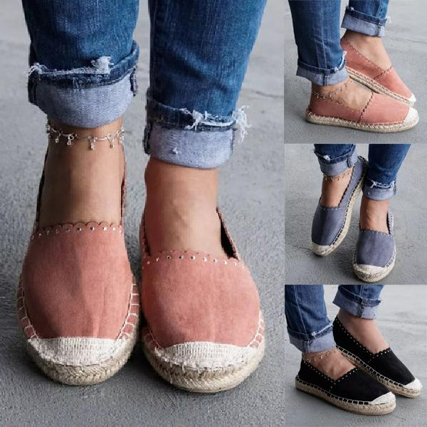 Suede Slip On Espadrilles Flat Loafers