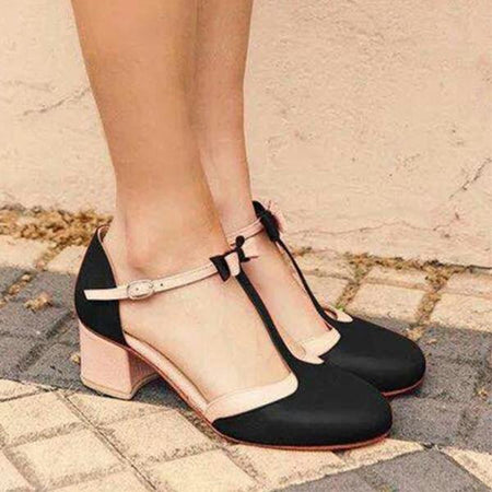 Color Block Chunky Heel Ankle Strap Round Toe Sandals