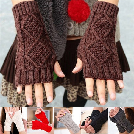 Women Arm Winter Warmer Fingerless Knitted Long Gloves Cute Mittens