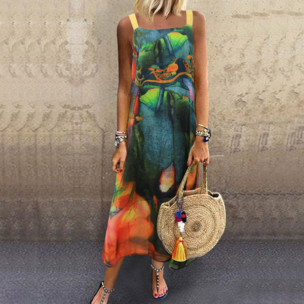 Fashion Boat Neck Sleeveless Print Dresses