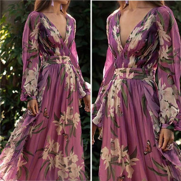 Bohemian Printed Pleated Dress