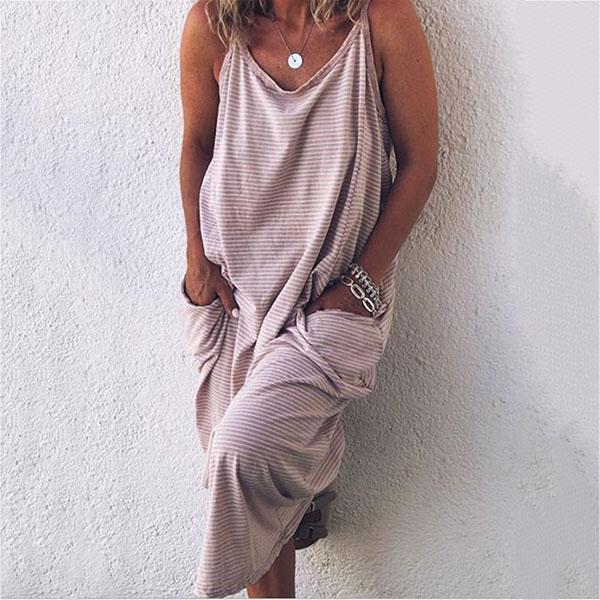 Women Striped Sleeveless Pocket Maxi Dress