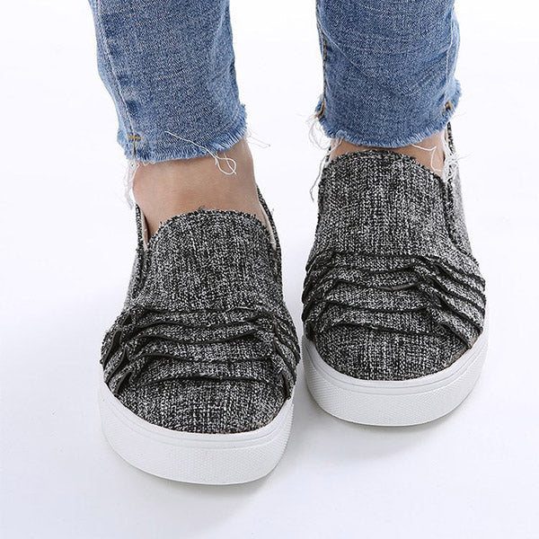 Plus Size Women Daily Ruffles Slip On Loafers