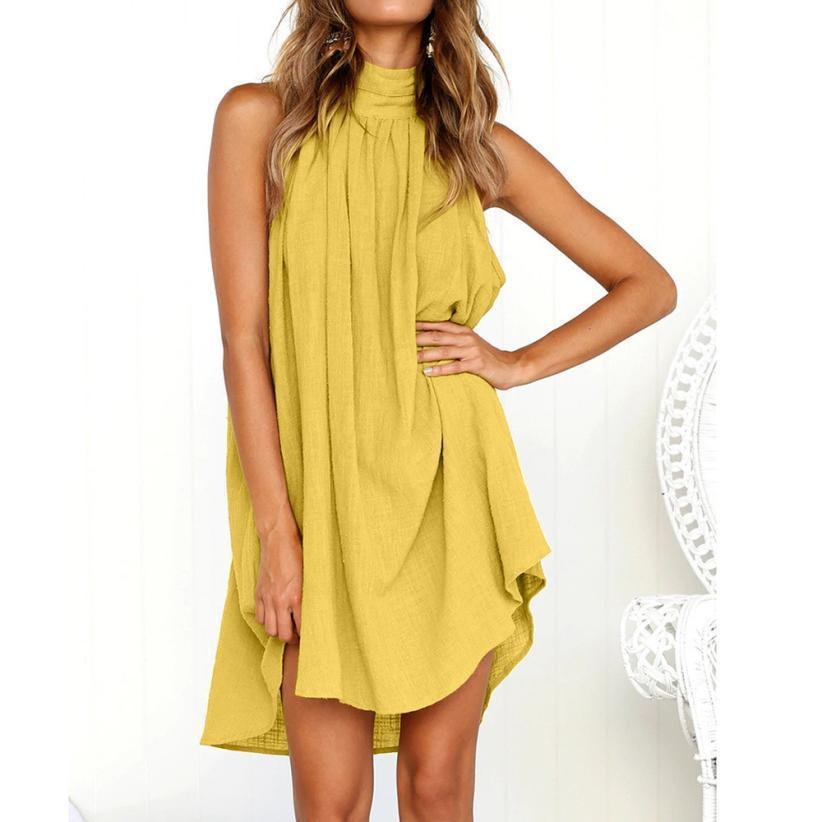 Basic Sleeveless Solid Summer Dress