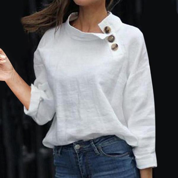 Daily Solid Color Long Sleeve Buttoned Blouses
