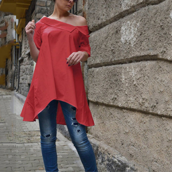 Women Irregular Hem Loose Long Sleeve Blouses