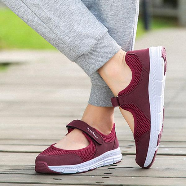 Women Sports Soft Mesh Breathable Hook Loop Casual Shoes