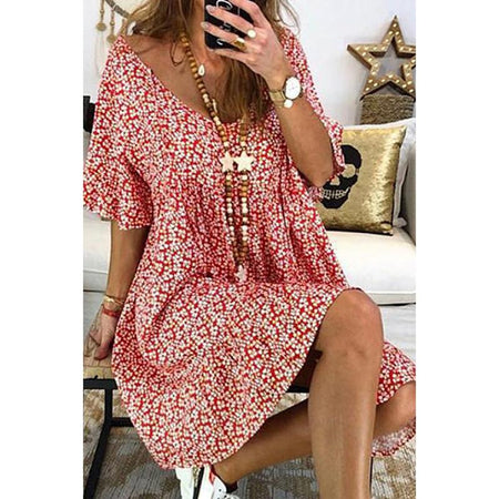 Casual V Neck Floral Printed Short Sleeve Dresses
