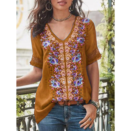Short-Sleeve Cotton-Blend Patchwork V Neck Shirts