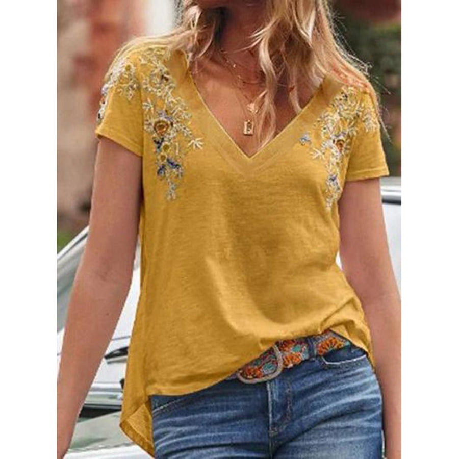 V-neck Floral Embroidered Short Sleeve T-Shirt