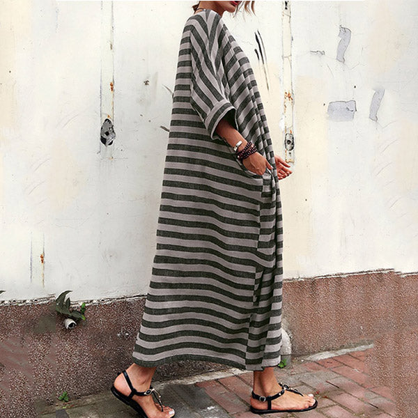 Plus Size Maxi Dress Striped Round Neck with Pockets