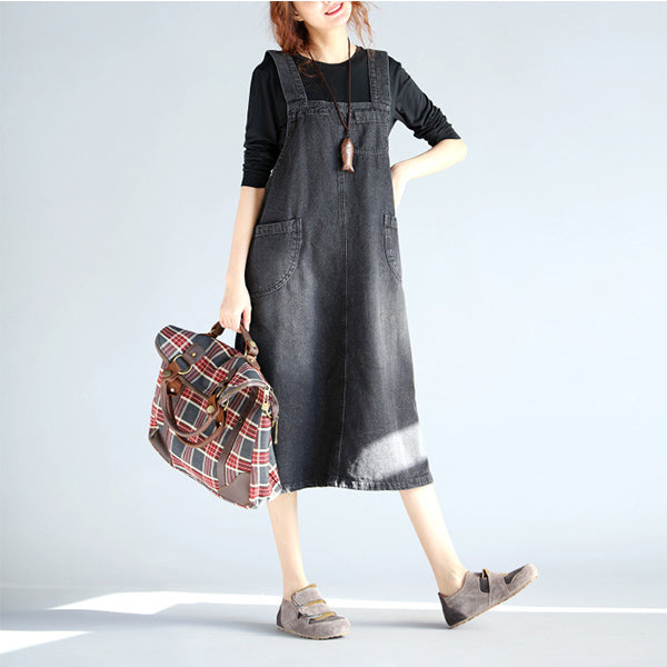 Casual Sleeveless Pockets Strap Denim Dress