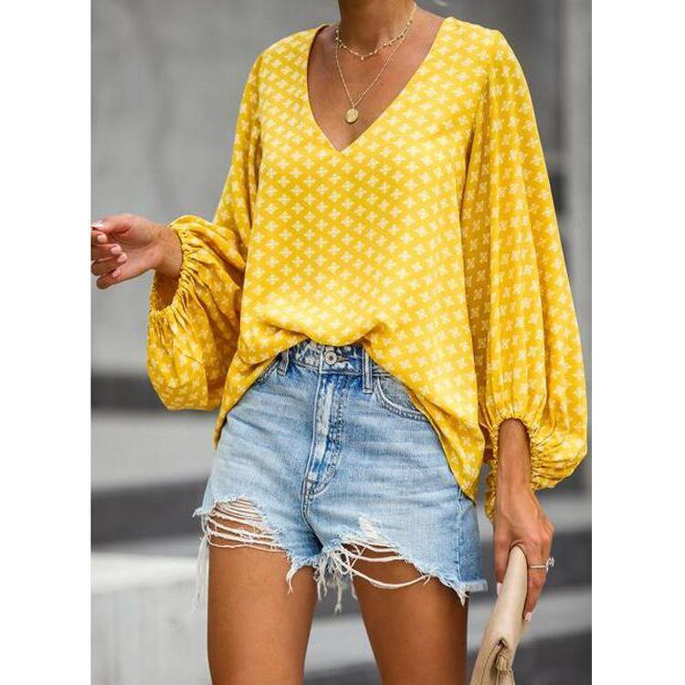 Summer V-Neck Lantern Sleeve Shirt