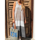 Sleeveless Cotton-Blend Spliced Color Dress
