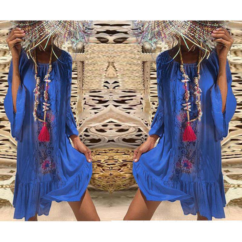 Bohemian Printed Bell Sleeves Vacation Dresses