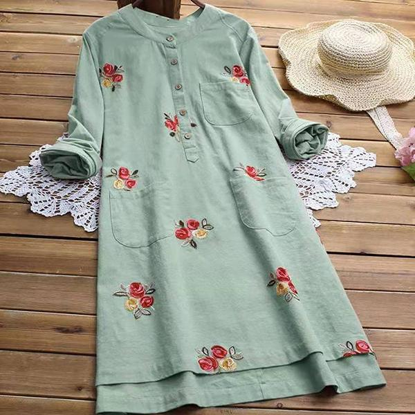 Casual Flower Printed Pocket Dress