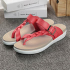 Women Leather Knitting Weave Buckle Clip Toe Flat Flip Flops Sandals
